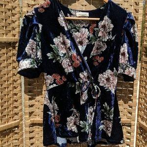 Floral velour blouse